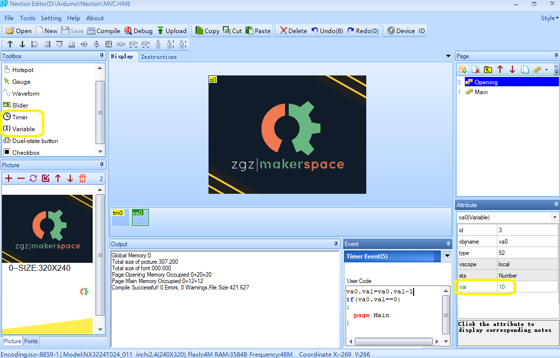 MVC Nextion - Timer Event - Cronómetro - Zaragoza MakerSpace