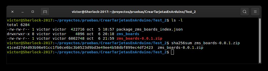 Tras la creación del fichero zms_boards-0.0.1.zip obtenemos eltamaño y calculamos el SHA256
