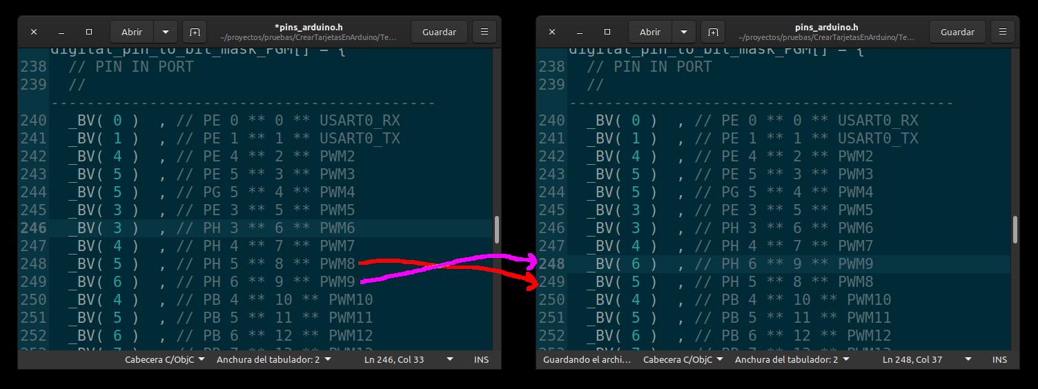 cambio a realizar en el fichero pins_arduino.h