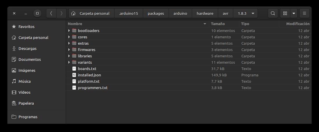 estructura de directorios y ficheros de un paquete instalado, en este caso el de Arduino