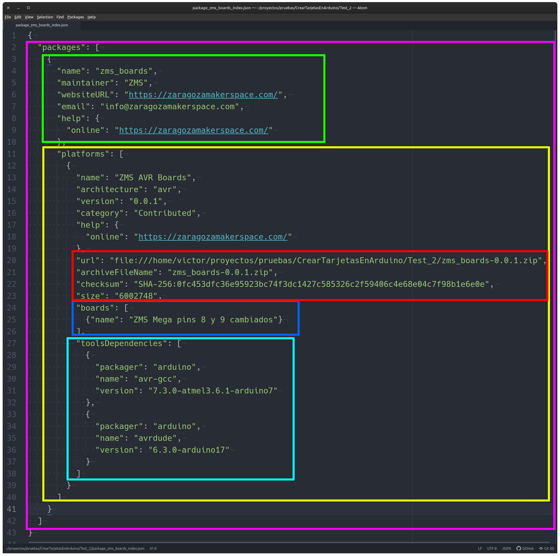Estructura del fichero package_zms_boards_index.json que identifica el paquete